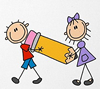 Cartoon image of two children carrying a pencil