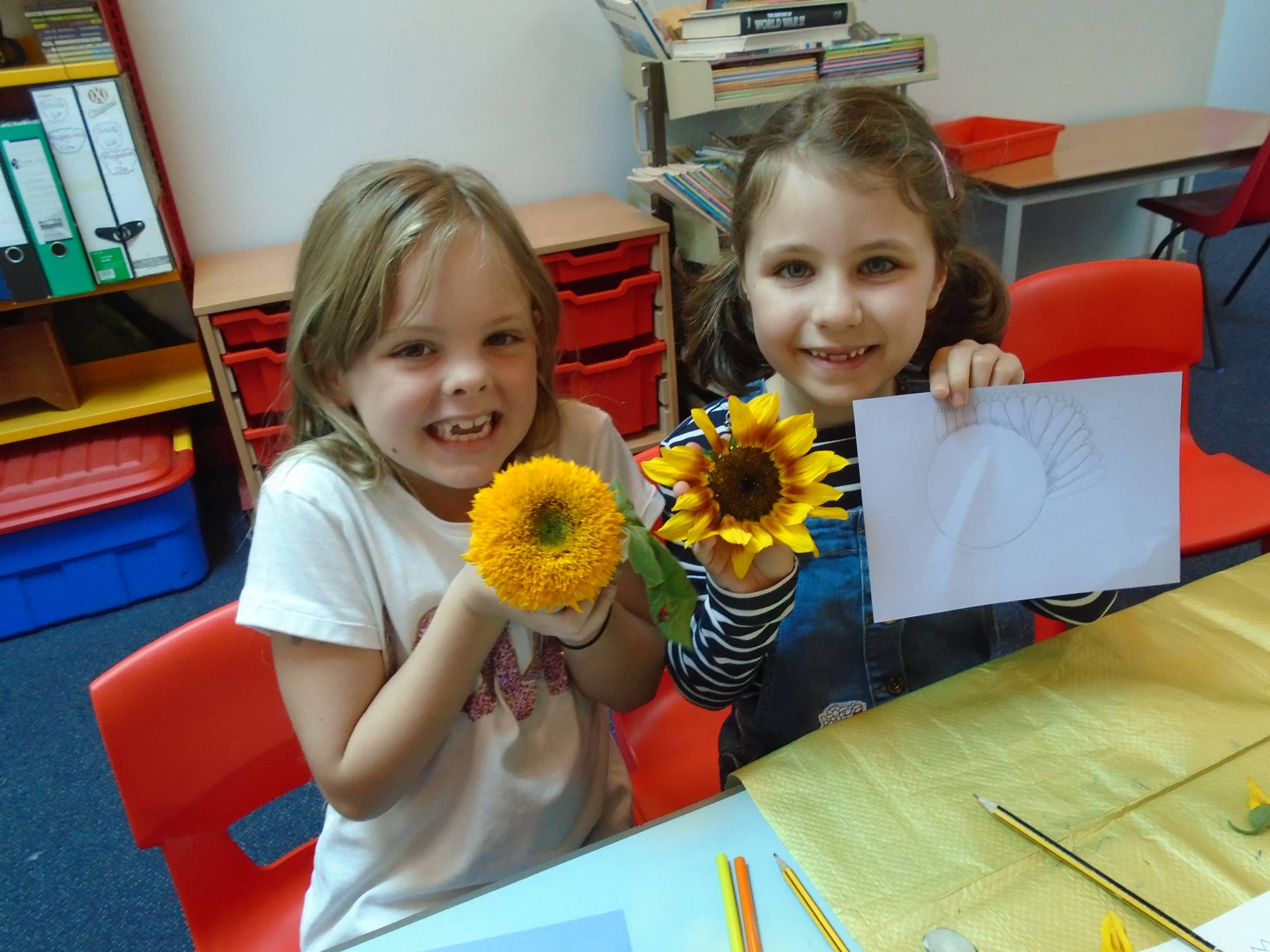 Two children holding sunflowers