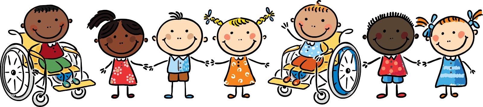 CARTOON IMAGE OF CHILDREN IN A ROW