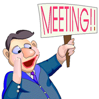 cartoon image of a man holding a meeting sign