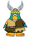 Cartoon image of penguin dressed as a Viking