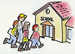 Cartoon image of a school