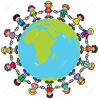 Image of the World with children holding hands round it